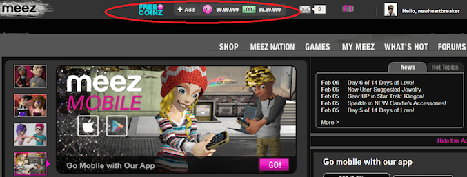 Unlimited coin on Meez Multiplayer Game